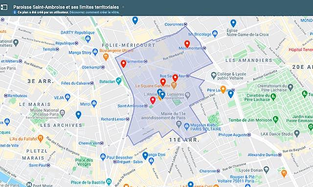 Limites territoriales de Saint Ambroise Plan