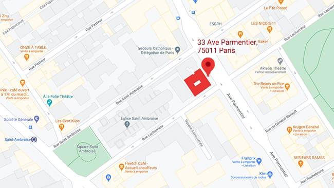 maison paroissiale 33 avenue Parmentier plan entrée
