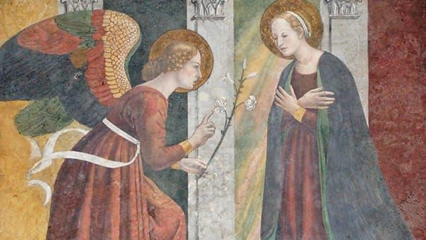 Fresque sur l'Annonciation Marie avec l'archange Gabriel