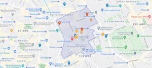 Plan du périmètre de l'église Saint Ambroise Paris contacts