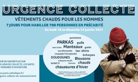Affiche sur l'Urgence collecte vêtements chauds