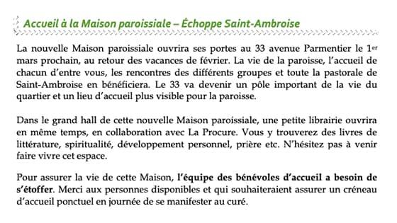 Feuille paroissiale de Saint-Ambroise - Maison Paroissiale - Annonce