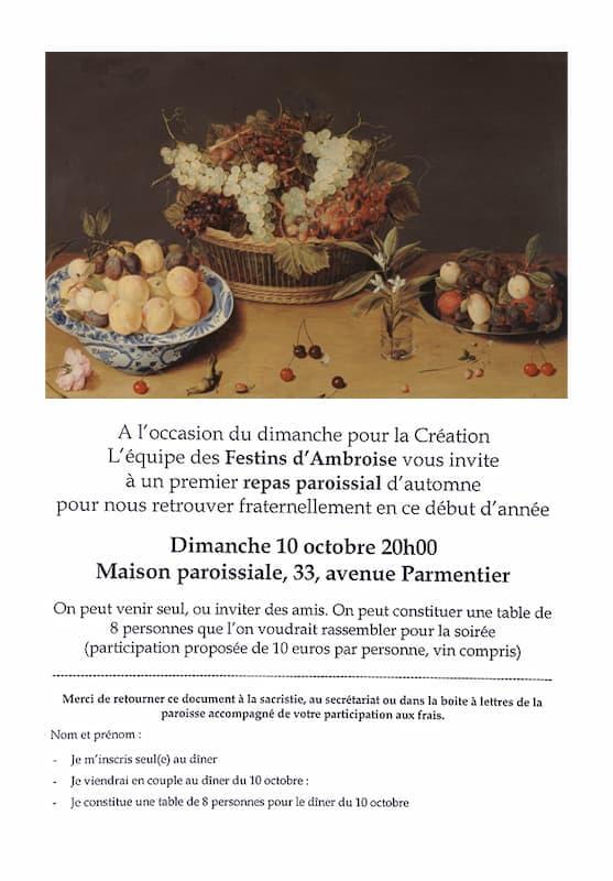 Festins d'Ambroise - tract repas 2021